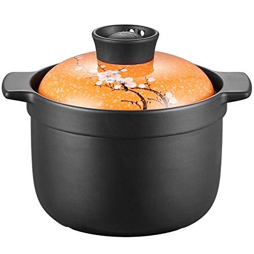 Plato para cazuela Olla de Sopa de Gran Capacidad para el hogar Cazuela de cerámica Resistente a Altas temperaturas Utensilios de Cocina para estofado (Color: Naranja, Tamaño: Alto)