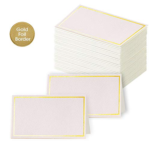 """Toncoo 100Pcs Premium Place Cards, Small Table Cards with Gold Foil Border, Escort Cards, Name Cards, Wedding Place Cards for Wedding, Table, Dinner Parties, Seating Cards, 2"""" x 3.5"""""""