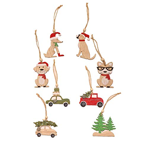 Copercn 8 Pcs Wooden Hanging Christmas Tree Cabin Elk Car Ornament Xmas Party Home Decor Christmas Tree Ornament Xmas Ornament Hanging Tag Embellishment for Holiday Party Decoration