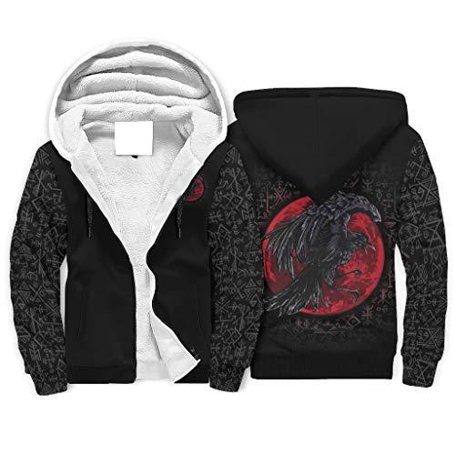 Sudadera vikinga con capucha y bolsillos para hombre, diseo de cuervo vikingo, con estampado de flores, luna, Fathurk blanco L