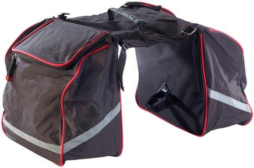 Xcase Fahrradtasche: Doppel-Gepäckträgertasche, wasserabweisend, mit Reflektions-Streifen (Velotasche)
