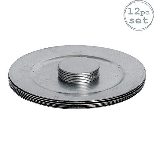 Argon Tableware Runde Unterteller und Untersetzer in Silber-
