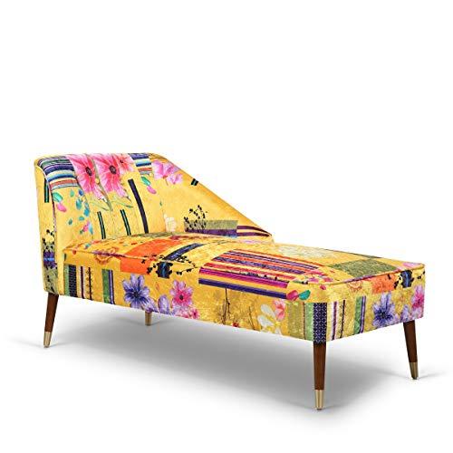 GOLD - Chaise Lounge Imbottito Chic con Gambe in Legno Scuro