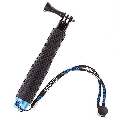 MyArmor Rubberized Aluminum Hand Grip Waterproof Selfie Stick Extendable (7-19 inch) Telescopic Handheld Pole Monopod for GoPro HD Hero 5/4/3+/3/2/1
