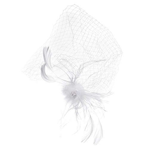 Beautyflier Bride Wedding Feather White Veil with Hair Clip Accessories for Women and Girls