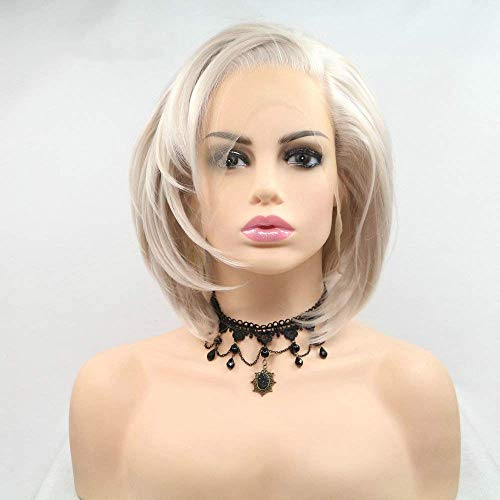 RaianHair 10inches Short Bob Wig Platinum Blonde Hair Side Part Heat Resistant Synthetic Lace Front Wigs for Women Cosplay Makeup Party White Blonde Short Haircut Hand Tied Replacement Full Wig