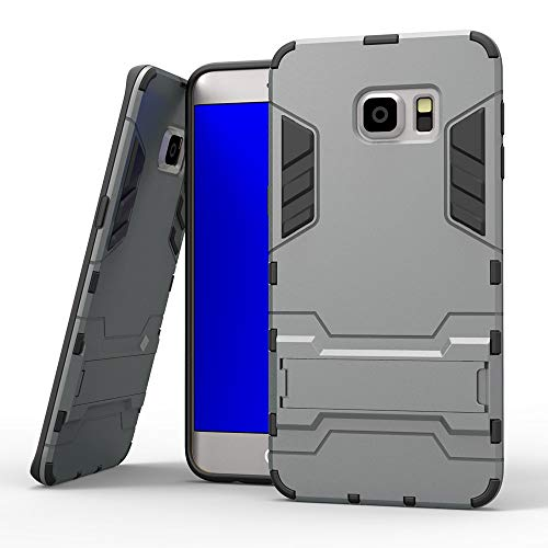 COOVY® Cover für Samsung Galaxy S6 Edge + Plus SM-G928F Bumper Case, Doppelschicht aus Plastik + TPU-Silikon, extra stark, Anti-Shock, Standfunktion   Farbe grau