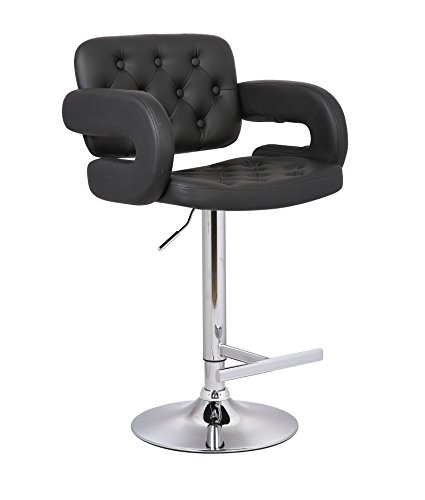 AC Pacific Diamond Tufted Contemporary Hydraulic Adjustable Swivel Bar Stool with Armrest and Cushion, 25'-33', Black