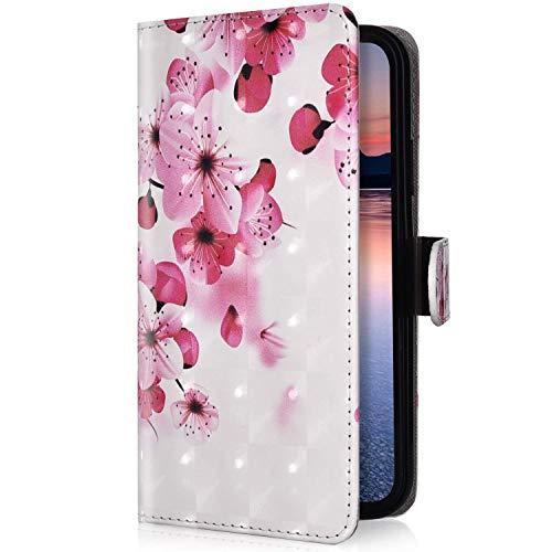Uposao Kompatibel mit Xiaomi Mi A2 Lite Handyhülle Bling Glitzer 3D Bunt Muster Schutzhülle Lederhülle Leder Tasche Klapphülle Wallet Flip Hülle Cover Ständer Kartenfächer,Rosa Kirschblüte
