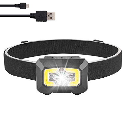 Rechargeable Headlamp Flashlight,COB and LED Headlamp,Super Bright 500 Lumen,USB Rechargeable 5 Modes Headlight,Waterproof Sensor Adjustable Headlamps for Camping,Fishing,Hunting,Adults,Kids Activity