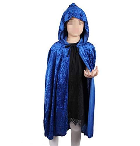 Fashion SHOP Capucha Red Black Hood Girl Boy Death Cloak Magician Witch Wizard Capa Cabo Toma Infantil Disfraz de Halloween para niños Niños Largo Capa con Capucha ( Color : Blue )