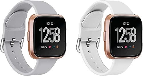 Classicase Correa de Reloj Compatible con Fitbit Versa 2 / Versa 2 SE/Versa Lite/Versa smartwatch, Silicona Correa Reloj con Acero Inoxidable Hebilla desplegable (Pattern 2+Pattern 5)