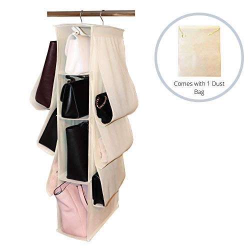 Gatsjy Hanging Handbag Purse Organizer Holder Closet Hanging Tote Bag Clutch Storage with 10 Nonwoven Pockets Comes with One Dust Bag