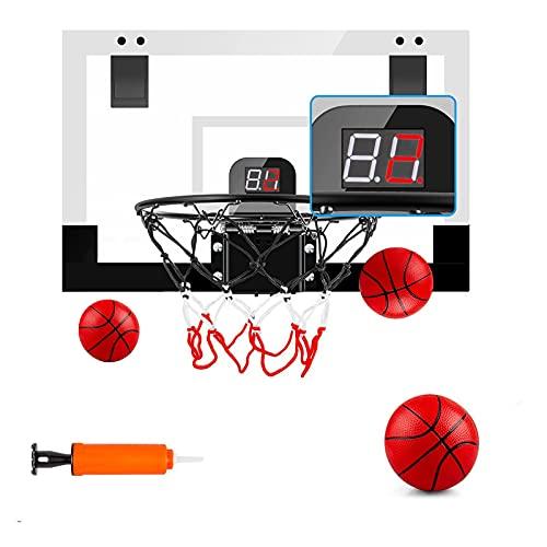 Indoor-Basketballkorb für Kinder und Erwachsene Tür Zimmer Basketballkorb Mini Hoop mit elektronischer Anzeigetafel, 3 Bällen , Basketballspielzeug für 5 6 7 8 9 10 11 12 Jahre alt Jungen Mädchen