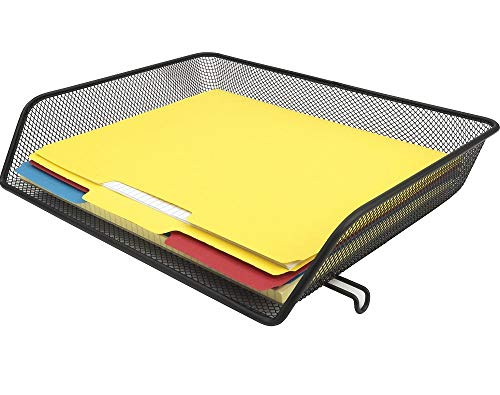 1InTheOffice Desk Tray Letter Size, Desk Tray Stackable, Side Load, Black Mesh, Single Tray Desk Organizer