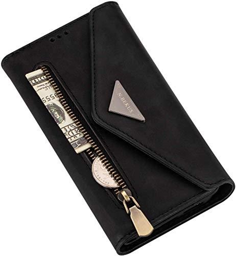 Magnetische Schutzhülle für Samsung Galaxy S20 Ultra, Handy Crossbody Wallet Case mit Kreditkartenfächern, Knopfschlaufe, Leder, Reißverschluss, Geldbörse, Schwarz