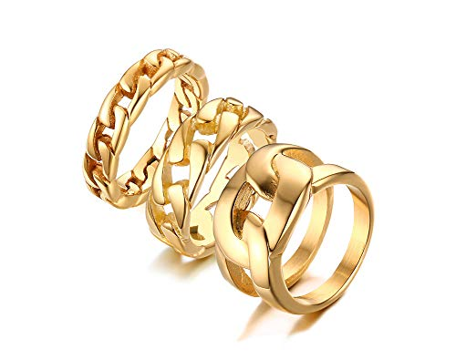 VNOX 3pcs Women' Gold Ring Chain Ring Band Ring,316L Stainless Steel/ 18K Gold Plated,Christmas Day Gift for Her