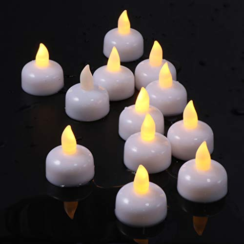 OSALADI Pack of 12 Floating LED Candles Flickering Waterproof Tea Lights Battery Operated Flameless Candle for Pool Wedding Centrepiece Party