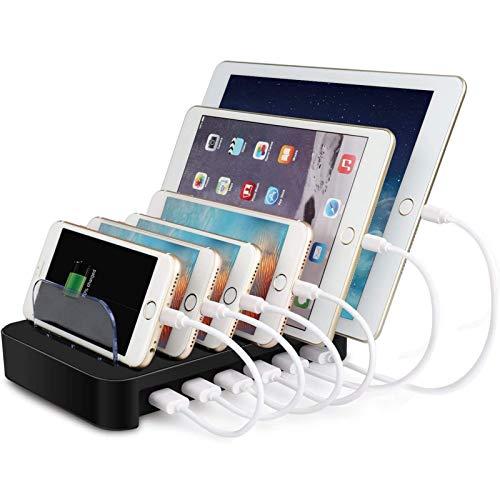 MixMart 6ポートUSB充電器 6台同期 一台同時充電 充電ステーション デスクトップ 充電スタンド iPhone/iPad...