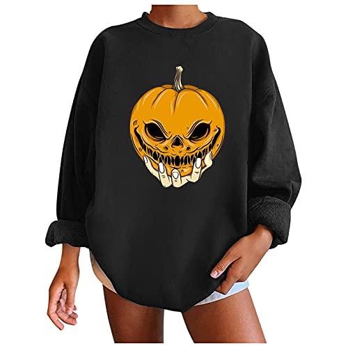 NHNKB Sudadera para mujer con capucha para Halloween, sin capucha, con forro cálido, regalo de Halloween, H negro., S