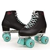 Patines de cuero artificial con doble línea para mujeres y hombres, adultos, dos líneas, patines con cuatro colores de poliuretano 4 ruedas línea regalos al aire libre para mujeres 6.5 ArmyGreen