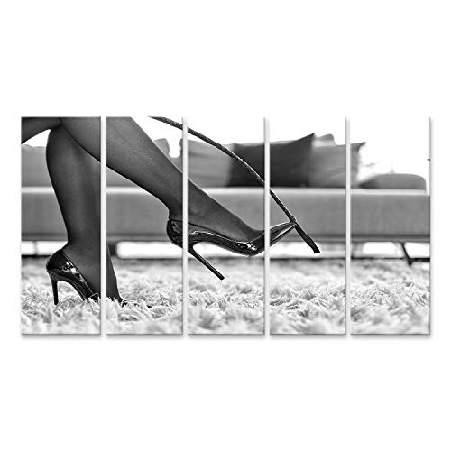 islandburner Cuadro en Lienzo Sexy Ropa Interior Femenina Tocar Tacones Altos látigo Negro WH Blanco Cuadros Modernos Decoracion Impresión Salon