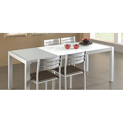SHIITO - Mesa de Cocina Extensible de Carro 132x80 cm en Aluminio y Tapa Cristal