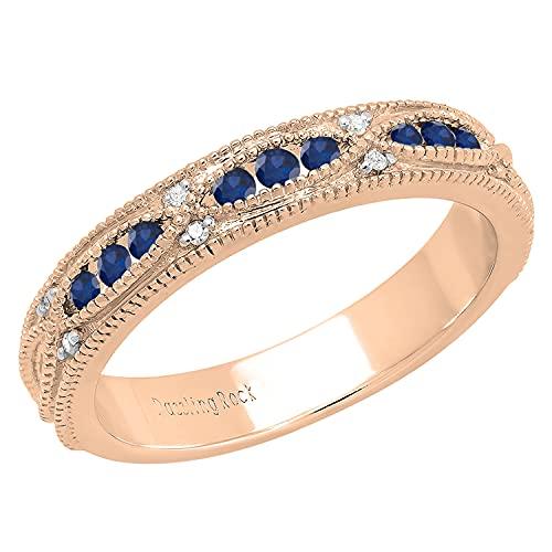 Dazzlingrock Collection Alianza de boda tradicional de estilo vintage con zafiro azul y diamantes blancos alterna | oro rosa de 14 quilates, talla 9.5