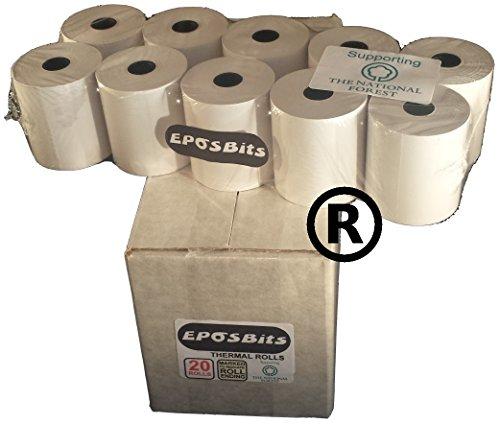 EPOSBITS - Rotoli per registratore di cassa Casio SE-G1, SEG1, SE G1, colore: bianco, 20 rotoli