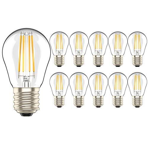 10 Pezzi 4W E27 Dimmerabile Lampadina Filamento Luce Calda LED Bianco Caldo 2700K Lampadine Candela Equivalenti a 40W Incandescenza