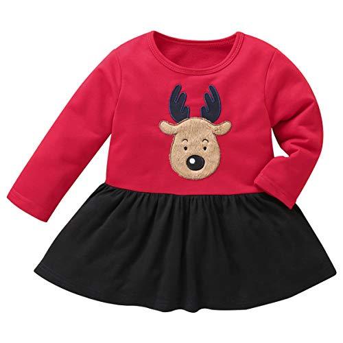 Tabpole Weihnachtskleid für Kinder, Mädchen, Elch, langärmlig, Rundhalsausschnitt. Gr. 3-4 Jahre, Schwarz