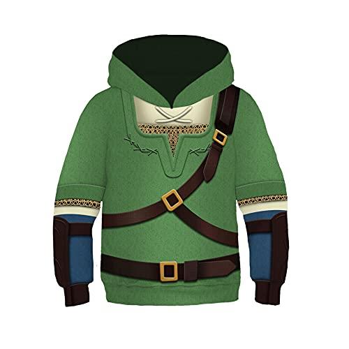 DAVIKO The Zelda hoodie Cosplay Costume Breath of the Wild Link Hoodie Sweatershirt kids Halloween Coat Black