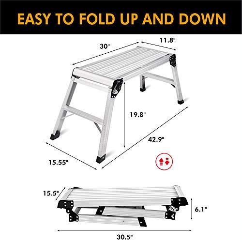 LEADALLWAY Work Platform Large 30inch Folding Ladders Stool with Non-Slip Mat Heavy Duty Aluminum Step Ladder Drywall of Capacity 330 LBS