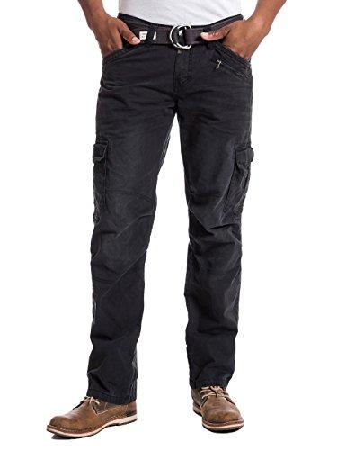Timezone Herren BenitoTZ Cargo Pants incl. Belt Hose, Schwarz (Caviar Black 9151), W36/L32