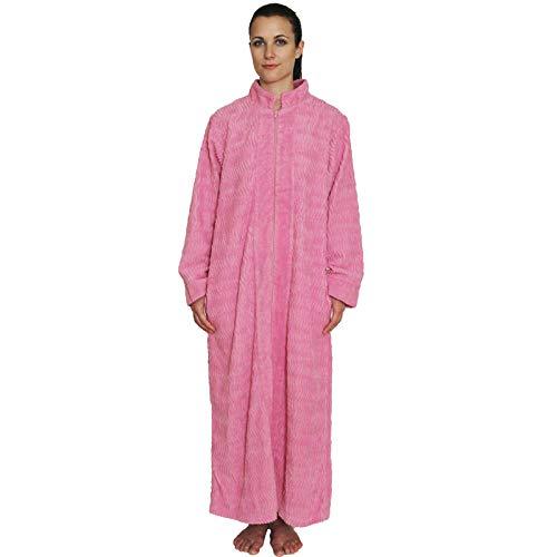 NDK New York Damen Chenille-Bademantel mit Reißverschluss vorne, 100% Baumwolle, Länge 132,1 cm -  Pink -  Large