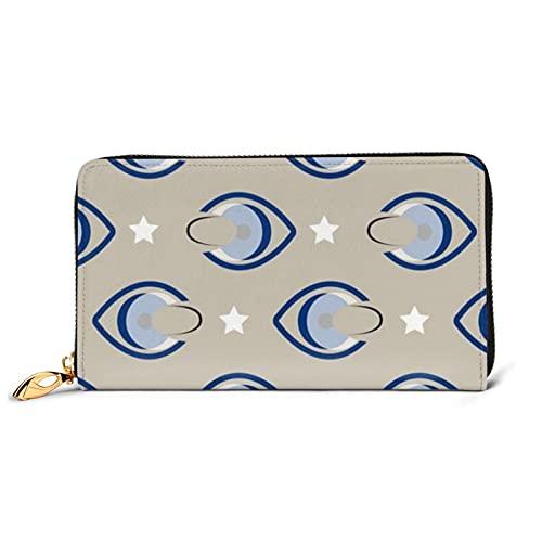 Kontaktlinsen Augen Weiße Sterne Damen Leder Geldbörse Lang Damengeldbörse mit Metall Reißverschluss Handtasche 12 Kartenfächer Handyhalter Münzfach
