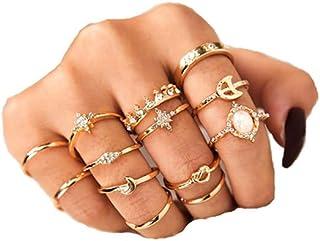جمع آوری 13 عدد حلقه زنانه حلقه های انگشتی انگشتر طلا بوهمیان برای دختران مجموعه انگشترهای کریستال سنگهای قیمتی نگین دار برای هدایای طلا و جواهر روزانه جشن نوجوانان (سبک 3)