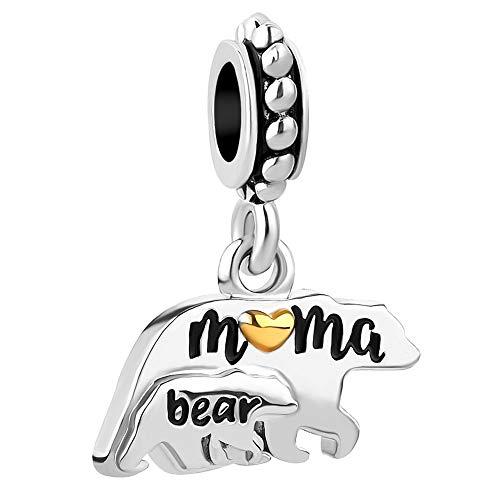 Charmed Craft Mom Love Baby Charms Elephant Mama Bear Beads For Bracelets (Bear)
