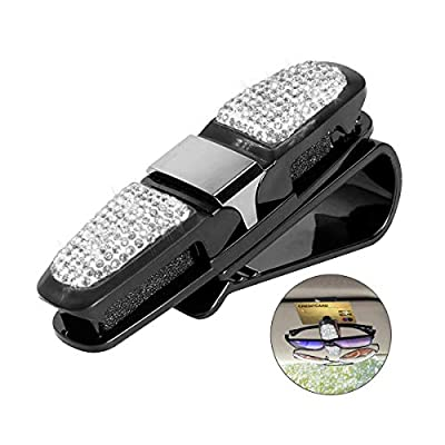 Glasses Holder for Car Visor,Fashion Bling Crystal Rhinestones Car Sun Visor Glasses with Double-Ended Ticket Clip Holder Accessories (Silver)