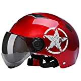QGY Erwachsene Männer & Frauen mofa Helm   Jethelm Motorradhelm   Halbschale Helm mit Abnehmbaren Brillen Visier Shield   Fahrradhelme   ECE Zertifiziert