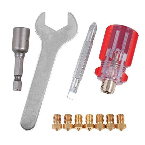 3D Printer Nozzles + 4 DIY Tools for J-Head E3D V5 V6 0.2mm 0.3mm 0.4mm 0.5mm 0.6mm 0.8mm Nozzle Tool for Nozzle Replacement, Spanner, Installation Tools …