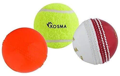 Kosma Set mit 3 Tennisbällen, Cricket-Bälle, Poly-Soft, PVC-Cricket-Bälle: Set beinhaltet: Cricket-Ball, rot/weiß, Tennisball gelb, Windball orange
