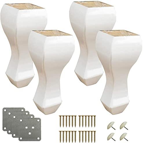 Set von 4 natürlichen Kiefernsofa Füster Möbel Ersatzbeine Massivholz für TV-Schrank Stuhl Couch Couchtisch Bett Füße Holzküche Füße Carving Process Last Kapazität 500 kg-Weiß_20 cm / 7.9in. Well