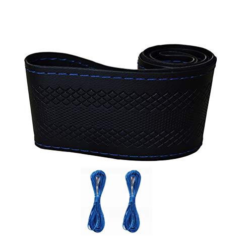 ZATOOTO Auto Lenkrad, DIY Leder Hand Nähstiches Lenkradbezug Anti Rutsch mit Nadel und Faden Blau B