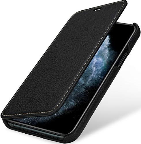 StilGut Book Hülle kompatibel mit iPhone 11 Pro Hülle aus Leder zum Klappen, Klapphülle, Handyhülle, Lederhülle, dünn - Schwarz