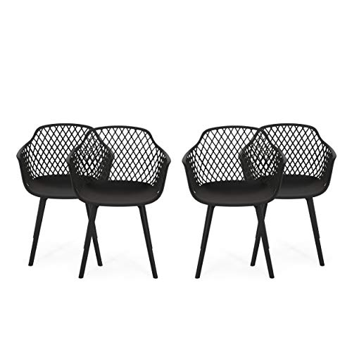 Christopher Knight Home 312474 Delia Outdoor Dining Chair (Set of 4), Black