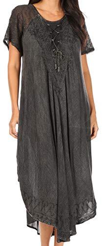 Sakkas 16603 - Egan Lange gestickte Kaftan Kleid/Abdeckung mit gestickten Kappen Ärmeln - Schwarz - OS