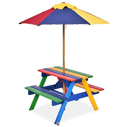 Goplus Set Tavolo e Sedie per Bambini, Set Mobili per Picnic da Giardino, Tavolo e Panche con Ombrellone Multicolore, di Abete, 79x71x52,5 cm