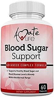 Blood Sugar Support Supplement with Biotin, Cassia Cinnamon, Vitamin C & Vitamin E - Sugar, Glucose, Insulin & Cholesterol Control Pills Supplement - 60 Capsules by Amate Life