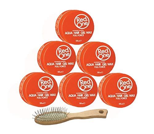 RedOne Aqua Hair Gel Wax Orange Full Force 150ml 6 Stück + GRATIS Taschenbürste Haarbürste
